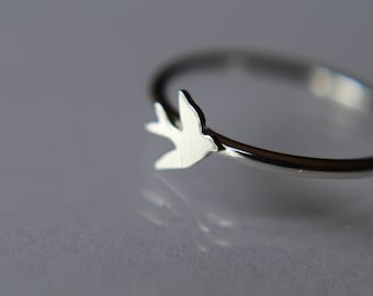 Sterling Silver Bird Ring, Stacking Bird Ring, Stackable, Stacking Ring, Silver Bird Band, Flying Bird Ring, Tiny Bird Ring, Silver Bird