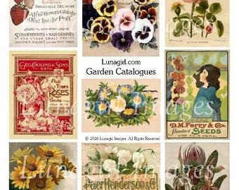 Vintage GARDEN CATALOGS digital collage sheet, Flowers Victorian images, ephemera printables, pansies strawberries Roses floral art DOWNLOAD