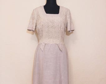1950's oatmeal linen dress - deadstock