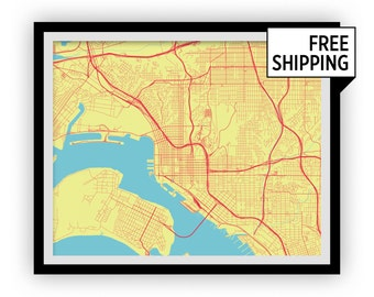 San Diego Map Print - Choose your color