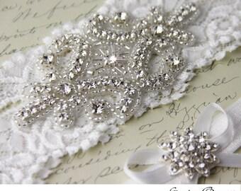 Off White Lace Bridal Garter Set, Lace Wedding Garter, Personalized Garter, White Lace Garter, White Wedding Garter