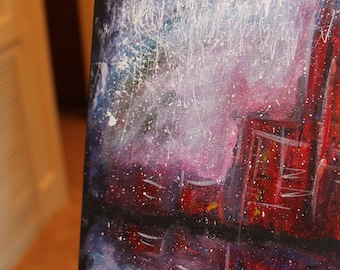 Abstract Art, Abstract Painting, Original Abstract painting, Contemporary, Modern, Fine Art, Blue Canvas Art, Cityscape, 9x12