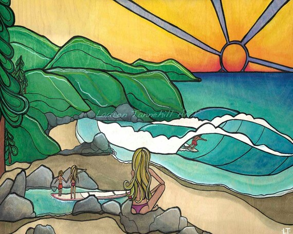 8x10 Giclee Print Beach Surf Family Print  by Lauren Tannehill ART