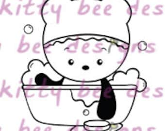Rub A Dub Panda Digital Stamp