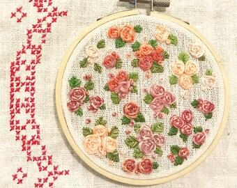 Petite rose hand embroidered hoop art