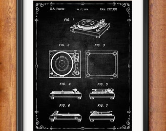 Printable Record Player Turntable Patent Decor Turntable Gift Digital Download Wall Art Decor Phonograph Blueprint Clip Art 1032