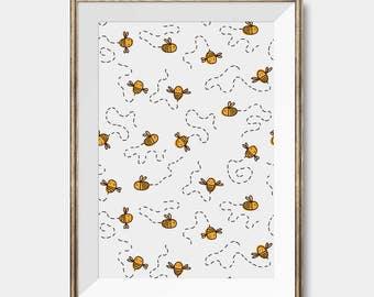Nursery Bee Art Print,Nursery Wall Art, Nursery Decor, Nursery Wall Decal ,Girl Boy Nursery Wall Decor, Nursery Wall Art Animals,Nursery Art