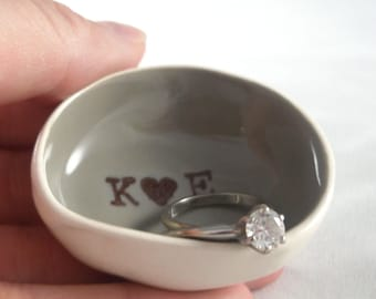 handmade NYE ENGAGMENT GIFT initials, monogram, his and hers ring dishes, mr and mrs ring holders, gifts for couple, bridal shower gift