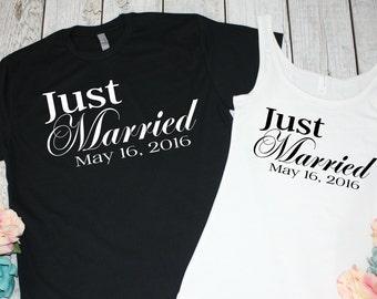 Just Married Shirts. Newlywed Shirts. Mr and Mrs Shirts. Honeymoon Shirts. Bride and Groom Shirts. Wedding Date. Bridal Shower Gift.