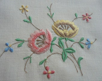 Vintage Embroidery Linen Tablecloth