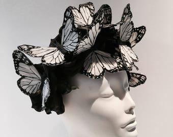 Butterfly Fascinator -Derby Monarch Butterfly Fascinator -Butterfly Hat- Coctail Hat- Butterfly Headdress- Kentucky Derby- Spring Fascinator