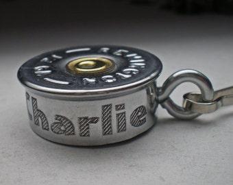 12 Gauge Remington Nickel Bullet Engraved Dog Bullet ID tag Bullet Personalized Bullet Dog tag