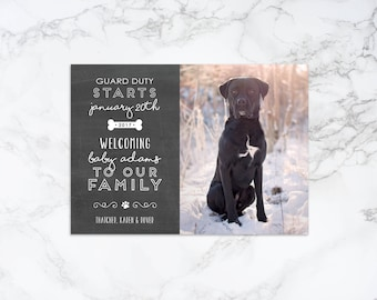 Printable Chalkboard Dog Duty Pet Theme Pregnancy Announcement