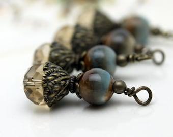 Smokey Golden Topaz Rondelle with Ceramic Bead Dangle Charm Drop, Pendant, Earring Dangle, Crystal Charm