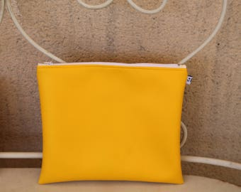 Yellow faux leather pouch