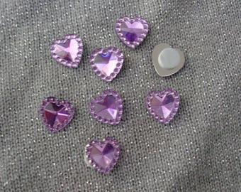 Hearts colors 12 mm purple acrylic rhinestone cabochons