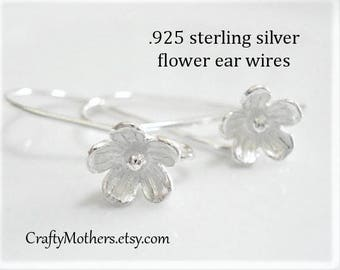 Last Ones! Bali Sterling Silver Large Flower Ear Wires, 25mm x 15mm, artisan-made supplies, bridal - SELECT a quantity