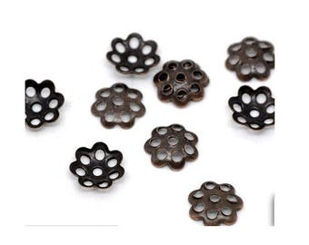 Set of 100 cups perforated 6 mm metal bronze