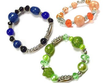 """Glittered Glass Beads Stretch Bracelet / Approx. 7.8"""" (inner circle) / 3 Colors Available"""