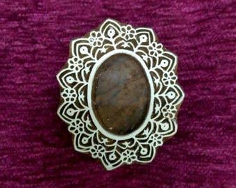 indian wood stamp, pottery stamps, textile stamps, hand carved printing block, tjaps, batik stamps - oval frame