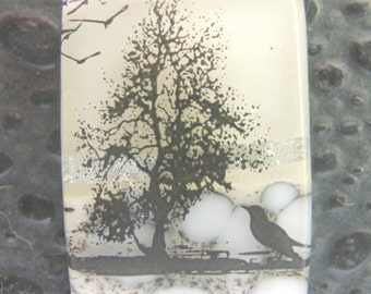 Snowbird Dichroic Pendant, Handmade Fused Glass Jewelry from North Carolina