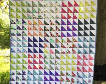 Colorful Half Square Triangle Quilt (Tula Pink)