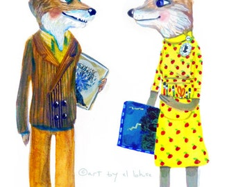 Fantastic Mr. and Mrs. Fox ... limited edition giclée art print ... name option ... wes anderson • dahl •  wedding • couple •  ode • custom