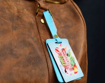 Summer Personalized Leather Luggage tag