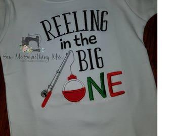 Reeling in the Big ONE Fishing Birthday Shirt or Onesie