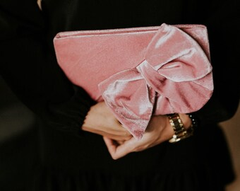 Pink velvet clutch bag | Bridal clutch | Bridesmaid clutch | Velvet purse | Velvet handbag | Women gift | Boho chic clutch | Gift for her