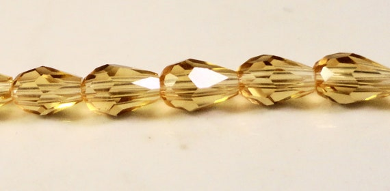 """Teardrop Crystal Beads 15x10mm, 10x15mm Golden Champagne Yellow Teardrop Beads Chinese Crystal Glass Drop Beads on a 6"""" Strand with 10 Beads"""