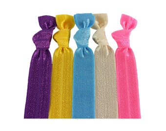 Spring Knotted Hair Tie Package - Girl Hair Accessories Creaseless Colored Elastics FOE Hair Band Ties that Double as Bracelets by O twist