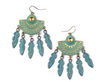 Gold dangle earrings verdigris patina