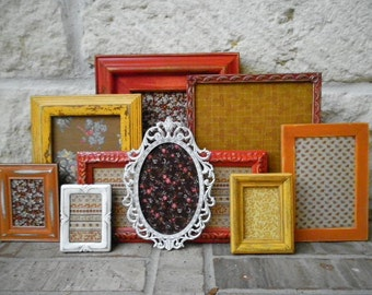 Autumnal FUN n FUNKY - Groovy Vintage Fabric Art - Upcycled Picture Frames