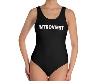 Introvert Women's Swimsuit / Introvert One-Piece Swimsuit / XS-3X / Introverts Unite / It's Too Peopley Outside / Plus Size Swimwear