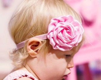 Pink Baby Girl Headband -  Satin Flower - Baby Newborn Infant Toddler Girls Adult