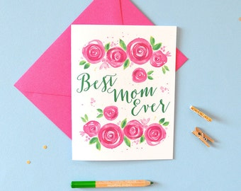 Mother Day Card Floral - Mother's Day Card - Card For Mom - Watercolor illustration by Michelle Mospens - Floral art - No. 244C