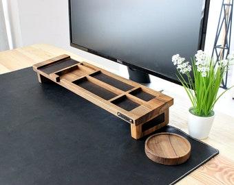 Wood desk organizer – Walnut & Leather. Desk accessories, keyboard rack, desk home organizer, office desk supplies, keyboard organizer