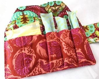 Privacy Pouch Tampon Bag Orange Tampon Holder Tampon Case Sanitary Pad Pouch Sanitary Pad Pouch Tula Pink Grandstand Orange Crush