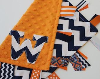 taggie, blanket, personalized, baby, gift, UTSA, roadrunners, orange, navy, minky, ribbon, lovey