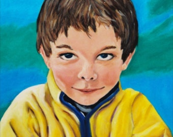Original Fine Art Painting, Boy with Frog. Figure Portrait. Acrylic on Canvas, Playroom Home Decor, Colorful Artwork, Green, Blue Yellow Art