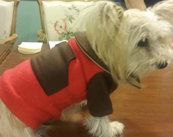 Cozy Red Fleece Dog Coat
