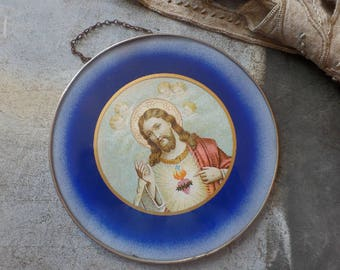 Old French religious glass wall hanging  The Christ