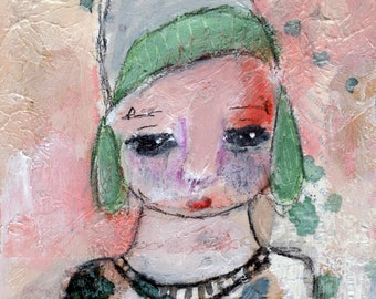 "Rachael - 8x10"" Original Mixed Media portrait painting"