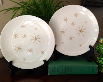 2 Royal China Star Glow Dinner Plates - Star Glow Plate - Royal China Plate - Atomic Dishes - Atomic Star - MCM Kitchen - 10 inch Plate