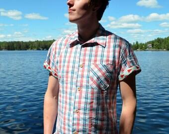 White, Red & Navy Plaid Shirt / S M L XL XXL / Summer - Sailor Mitch Shirt