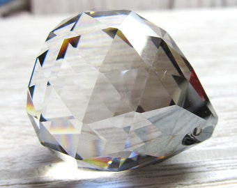 German Lead Crystal Pendent 35 X 30mm Hand Cut Crystal Faceted Pear Focal Bead -1 Piece