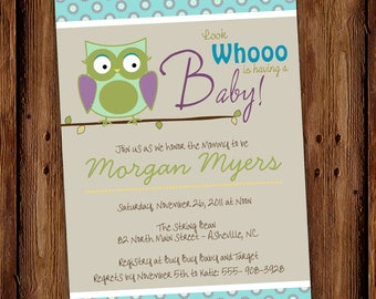 Owl Baby Shower Invitation - Guess Whoooo Baby Shower Invitation - Printable or Printed Cards