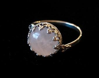 8.5 size - Rose Quartz Cabochon Ring Sterling Silver - Fancy Bezel