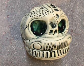Ceramic Head, cyborg, wall hanging